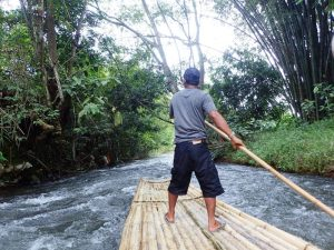 bamboo rafting borneo tour guide